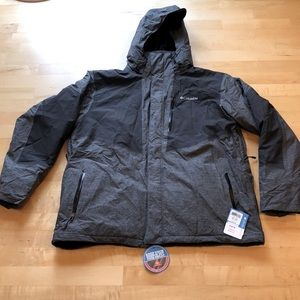 New Mens xxl Columbia jacket coat black gray water